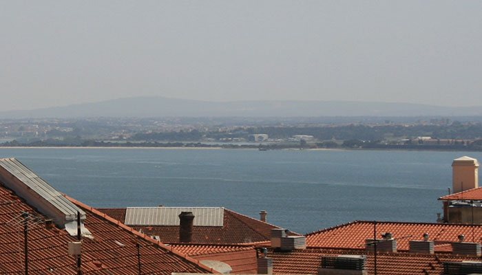 Riverside view from terrace – Penthouse: Luz Soriano Palace, Bairro Alto, Lisbon